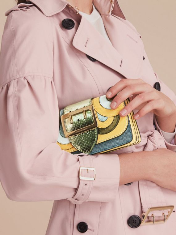 The Small Buckle Bag in Leather and Snakeskin Appliqué - cell image 3