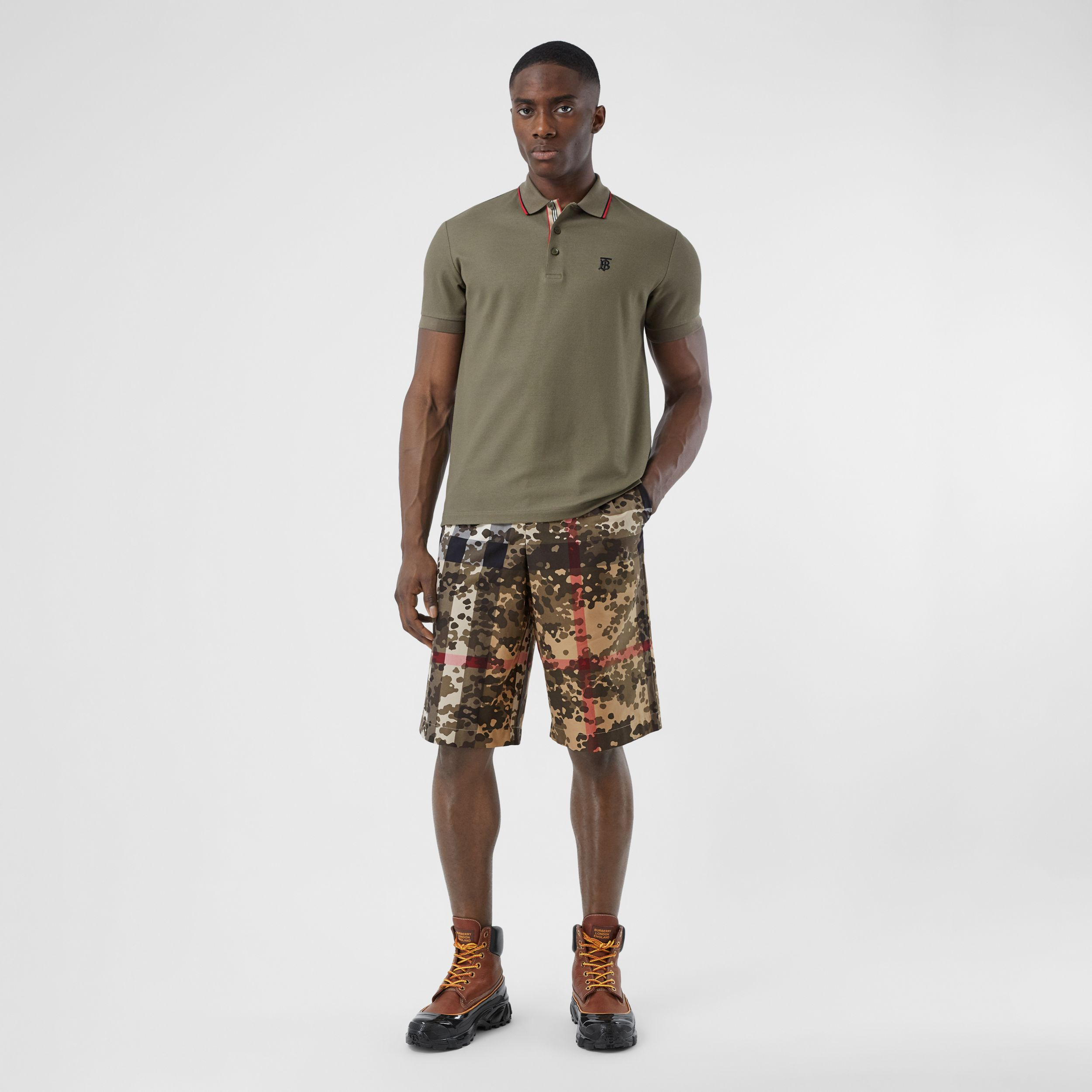 Camouflage Check Cotton Twill Tailored Shorts in Archive Beige - Men | Burberry - 1