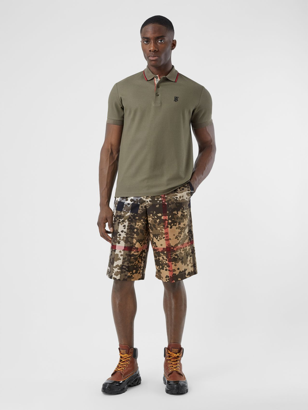 Camouflage Check Cotton Twill Tailored Shorts in Archive Beige