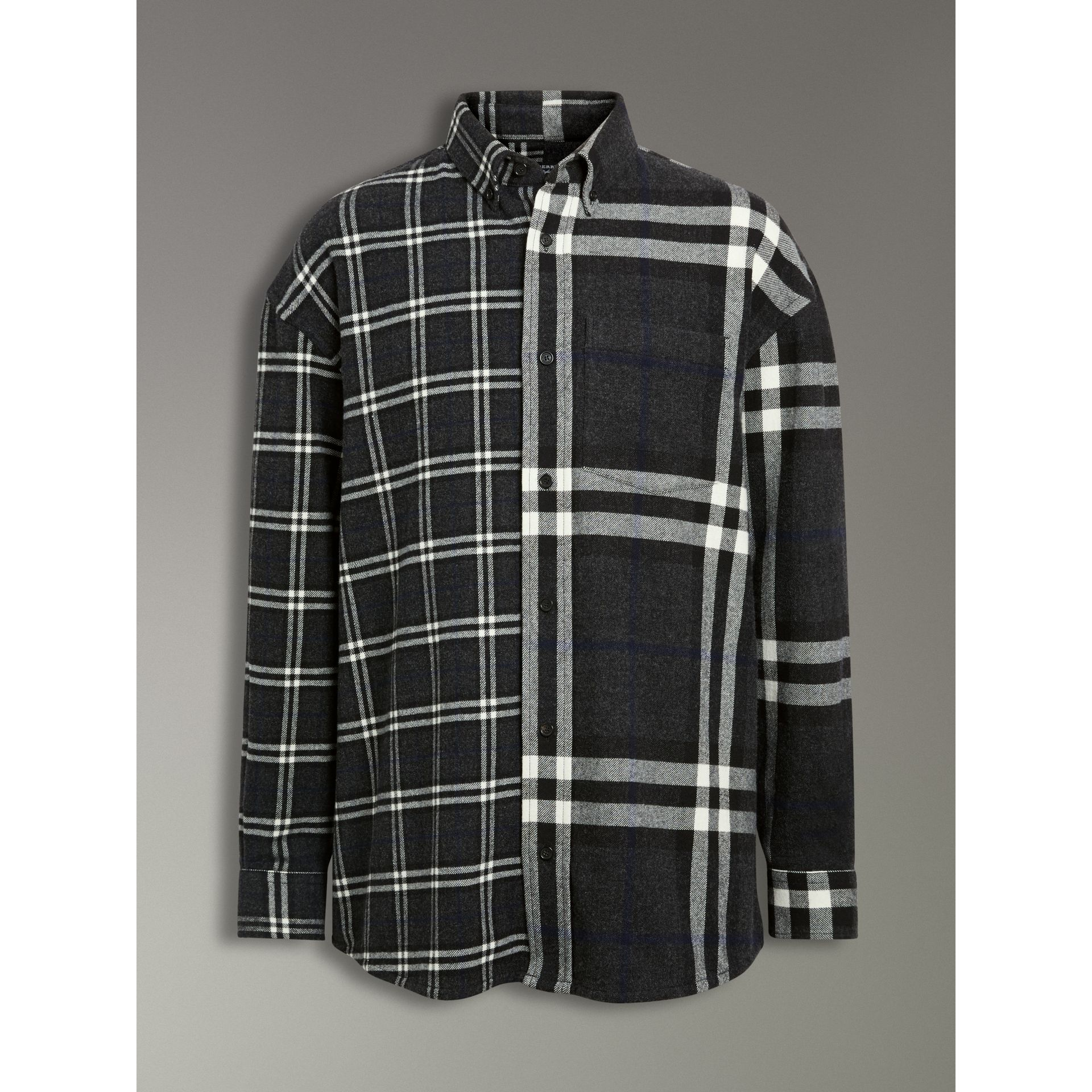 Gosha x Burberry Check Flannel Shirt in Charcoal | Burberry United States - gallery image 3