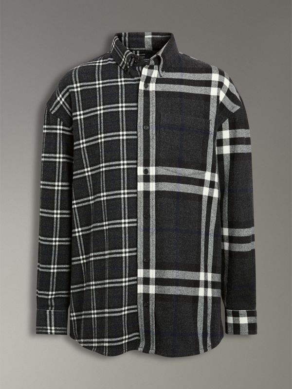 Gosha x Burberry Check Flannel Shirt in Charcoal | Burberry United States - cell image 3