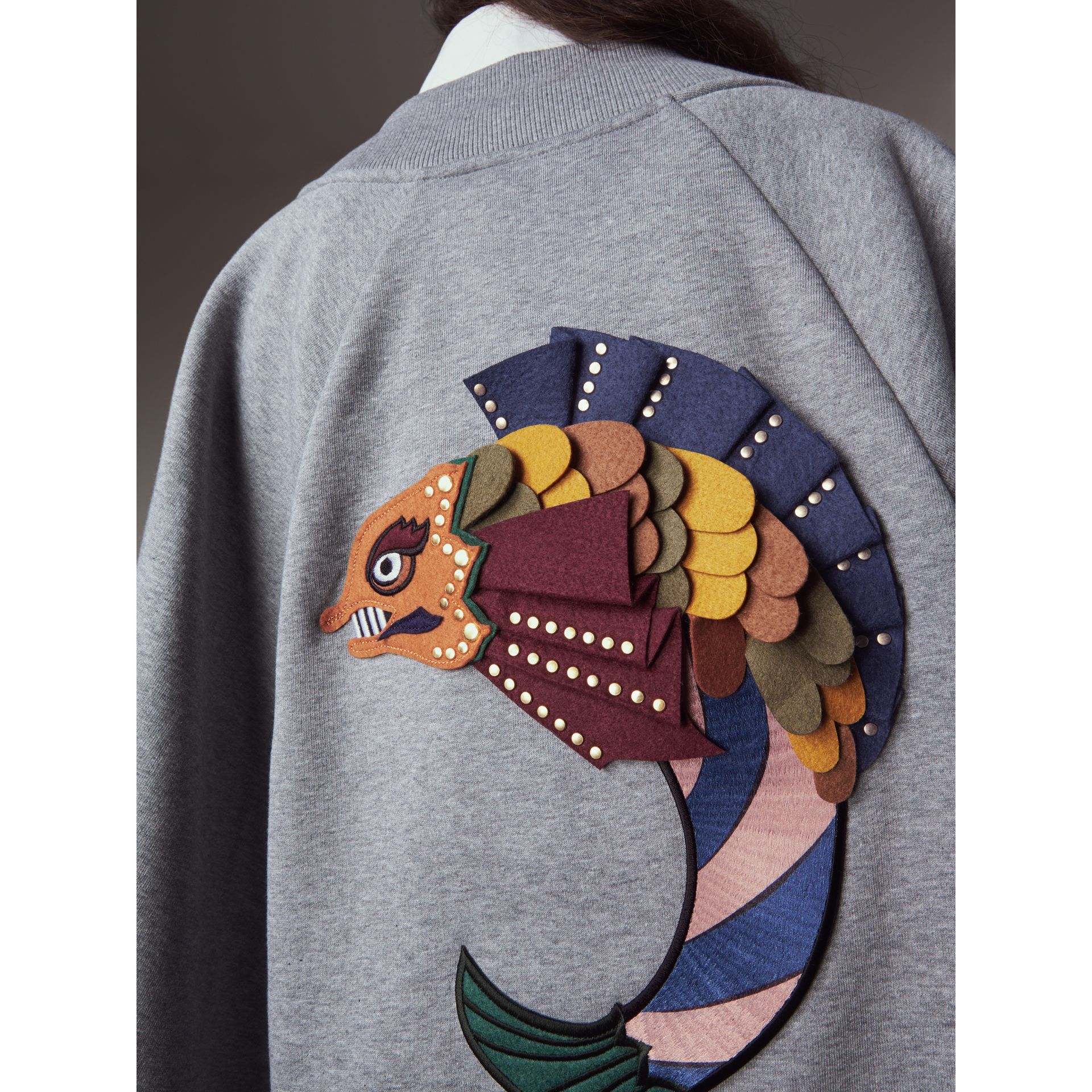 Beasts Appliqué Sweatshirt Cape in Pale Grey Melange - Women | Burberry - gallery image 2