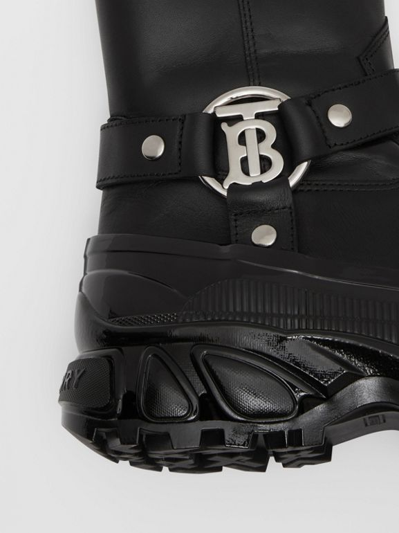 Monogram Motif Buckle Leather Boots in Black - Women | Burberry Singapore - cell image 1