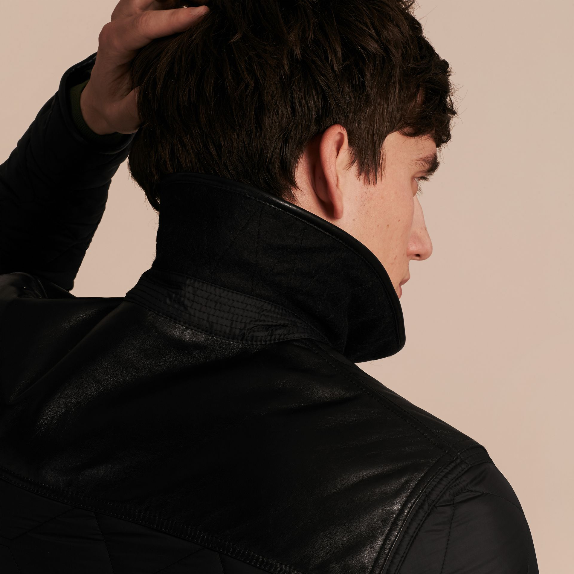 Black Lambskin Detail Field Jacket - gallery image 5