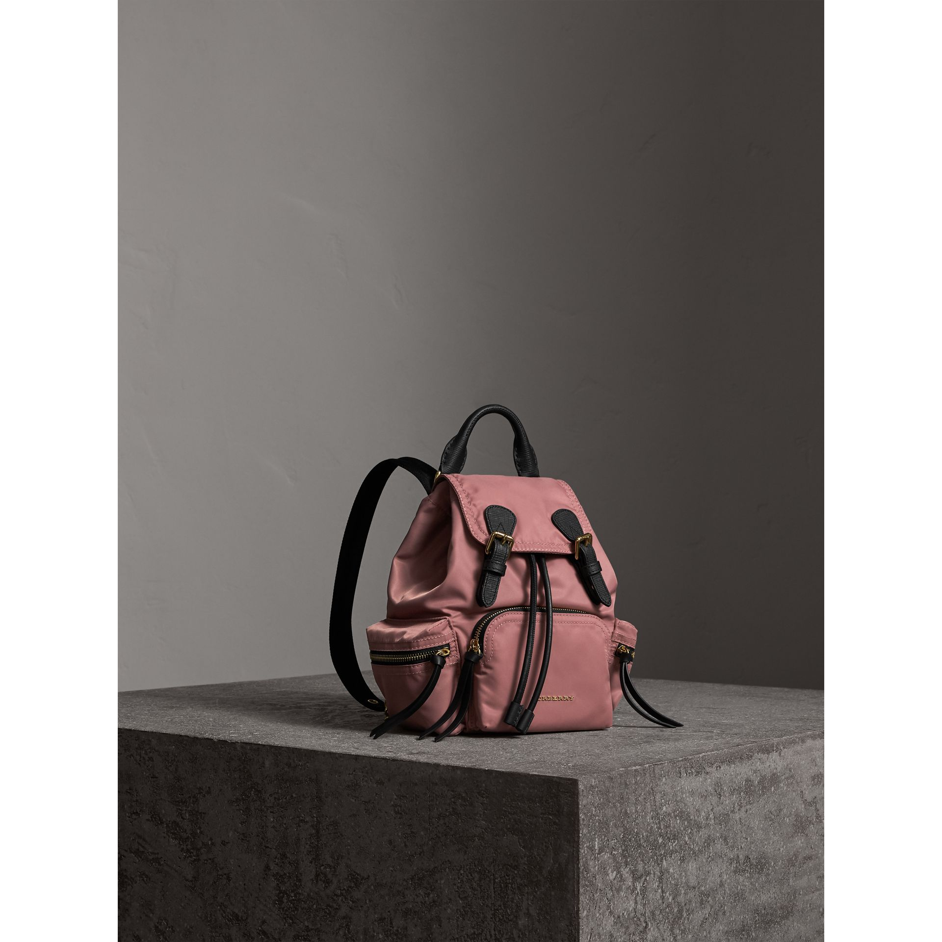 The Small Rucksack in Technical Nylon and Leather in Mauve Pink - Women | Burberry Canada - gallery image 7