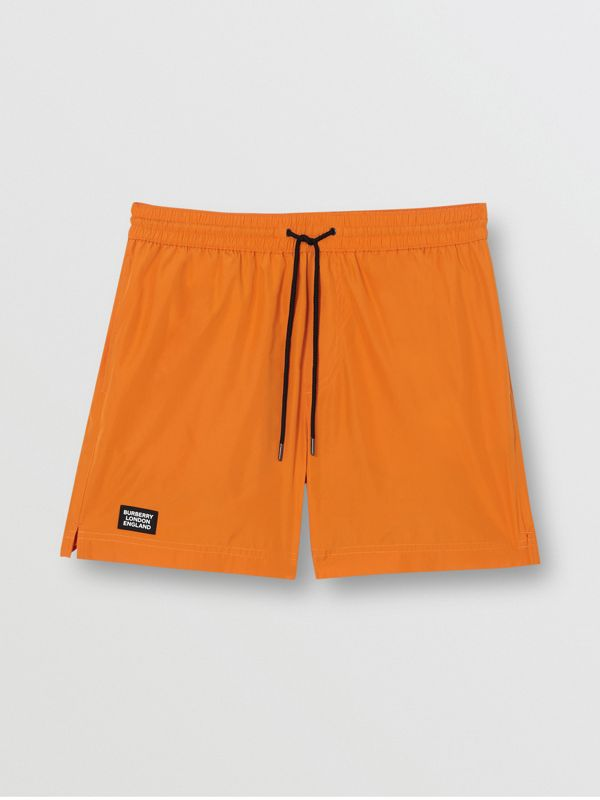 Logo Detail Drawcord Swim Shorts in Bright Orange - Men | Burberry United Kingdom - cell image 2