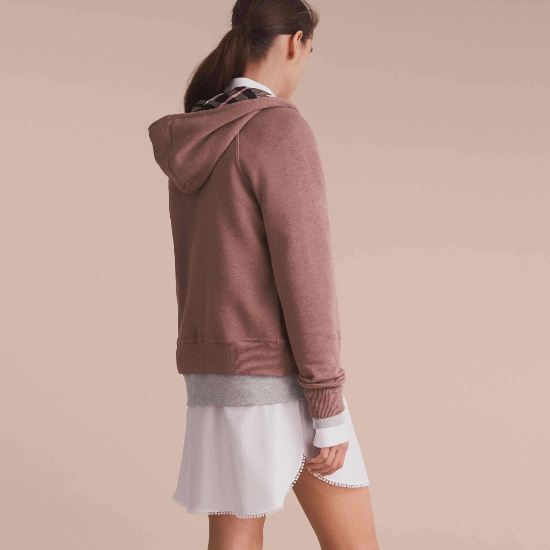 Hooded Cotton Blend Top Antique Rose - gallery image 3