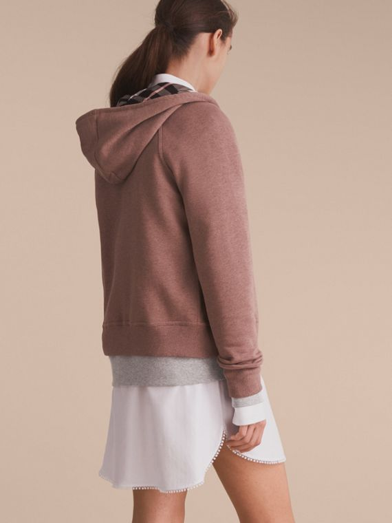 Hooded Cotton Blend Top Antique Rose - cell image 2