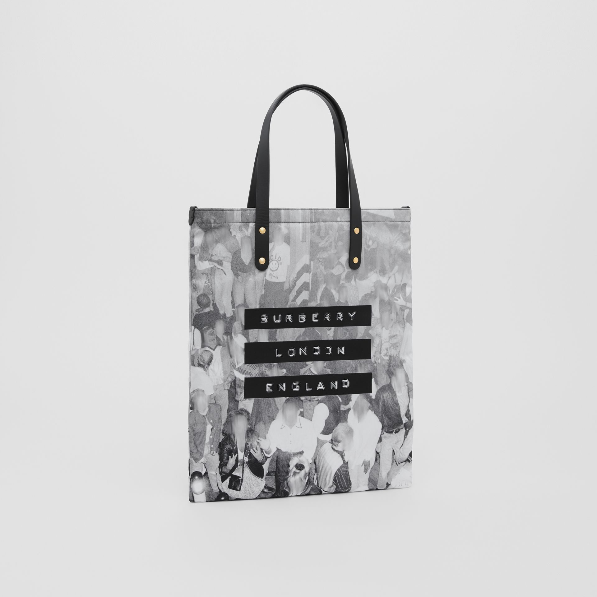 Rave Print Nylon Tote Bag in Black | Burberry - gallery image 7