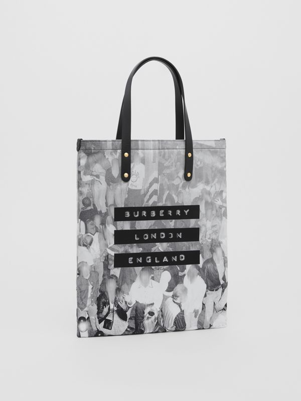 Rave Print Nylon Tote Bag in Black | Burberry United States - cell image 3