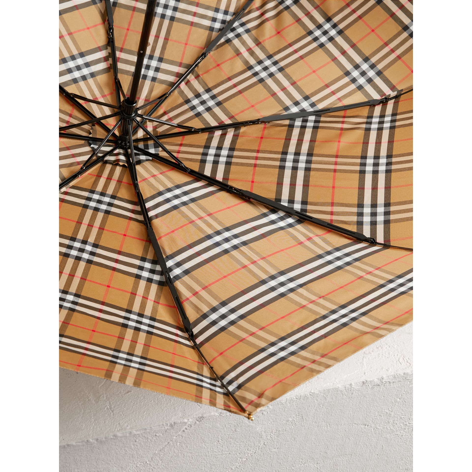 Vintage Check Folding Umbrella in Antique Yellow/limestone | Burberry United Kingdom - gallery image 2
