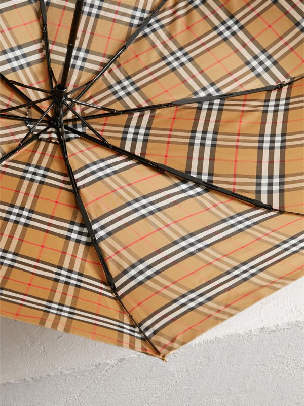 Vintage Check Folding Umbrella in Antique Yellow/limestone | Burberry - cell image 3