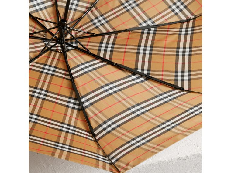 Vintage Check Folding Umbrella in Antique Yellow/limestone | Burberry - cell image 2