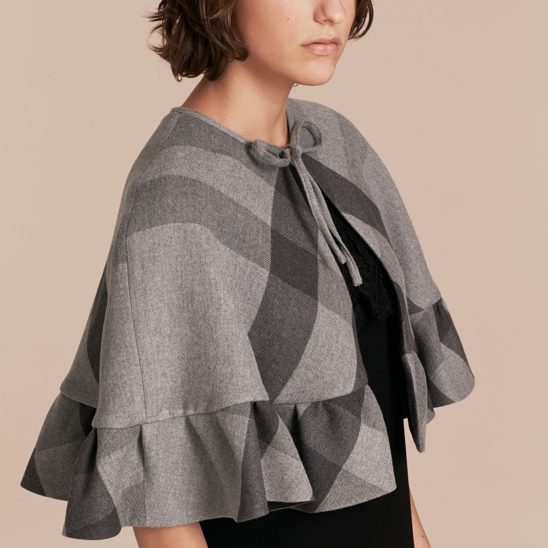 Charcoal Ruffled Hem Check Wool Cape Charcoal - gallery image 5