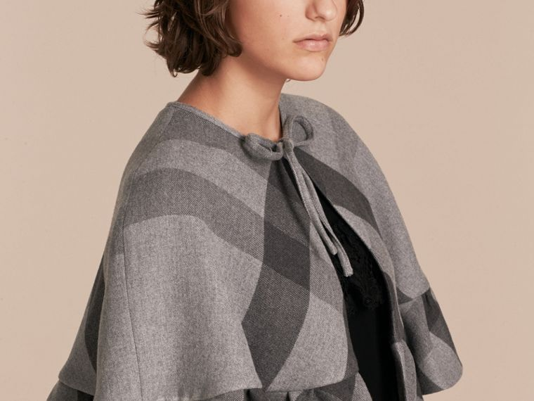 Charcoal Ruffled Hem Check Wool Cape Charcoal - cell image 4