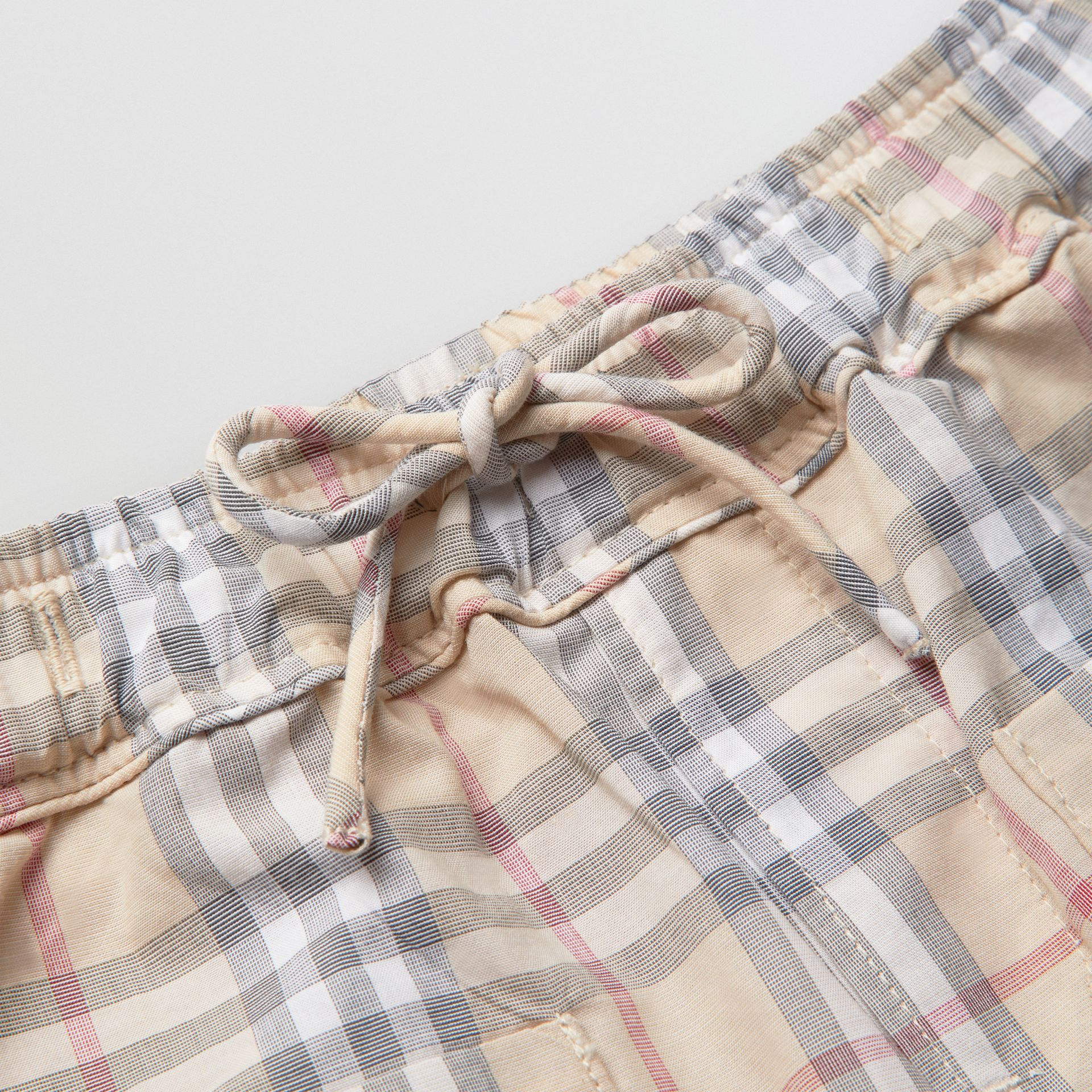 Check Cotton Shorts in Pale Stone - Children | Burberry Australia - gallery image 1