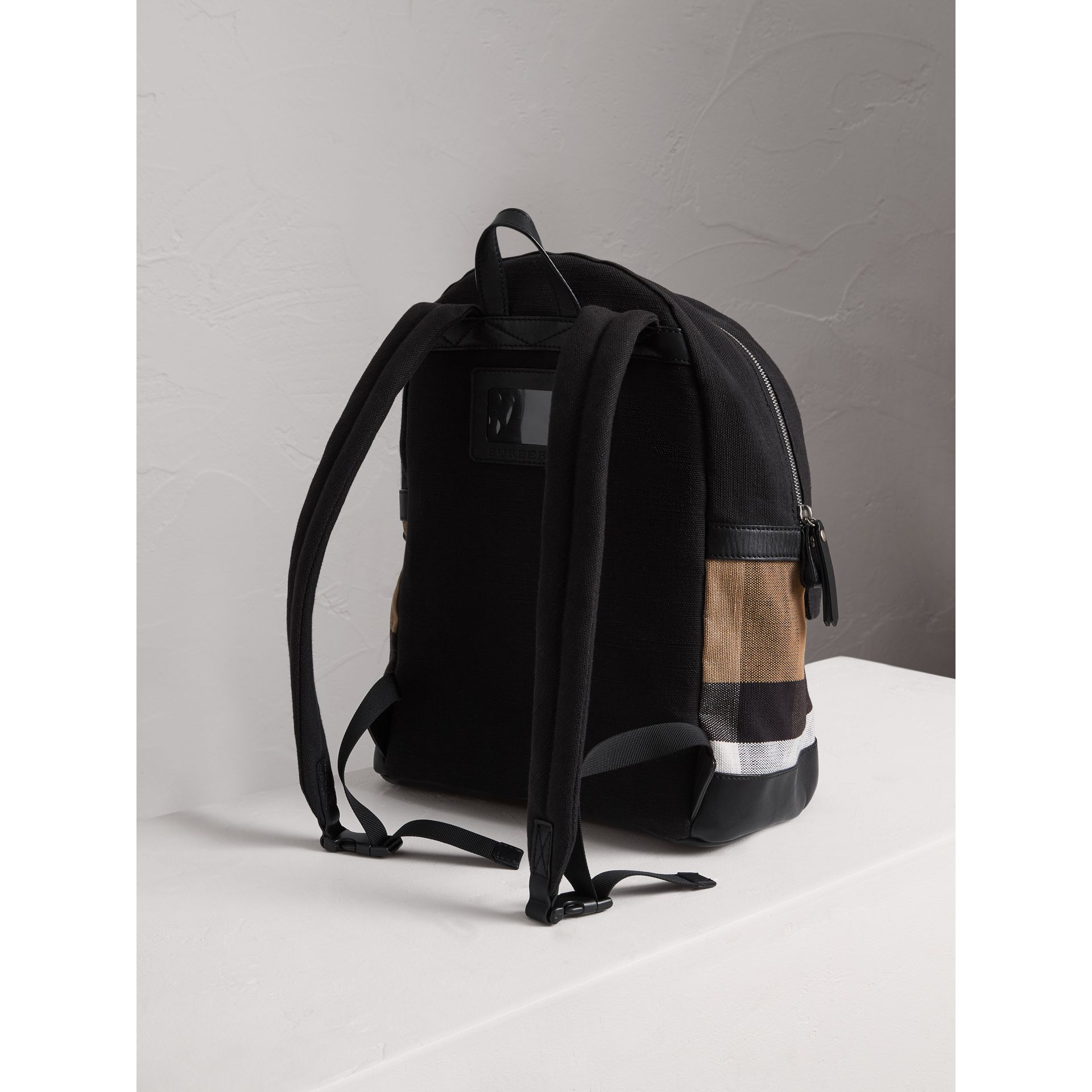 Canvas Check and Leather Backpack in Black | Burberry Singapore - gallery image 2