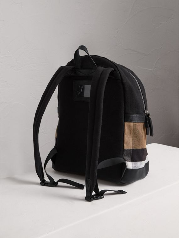 Canvas Check and Leather Backpack in Black | Burberry Singapore - cell image 2