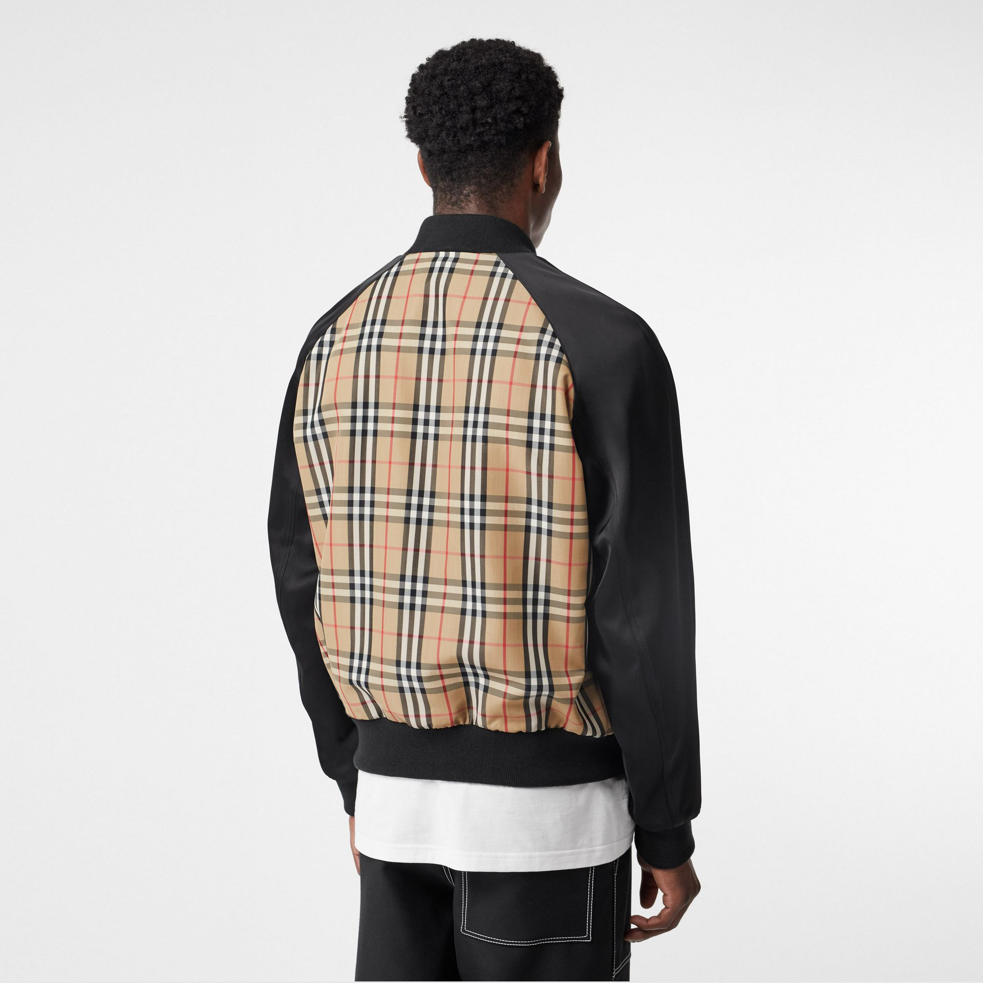Monogram Motif Vintage Check Nylon Bomber Jacket in Archive Beige - Men | Burberry United States - gallery image 1