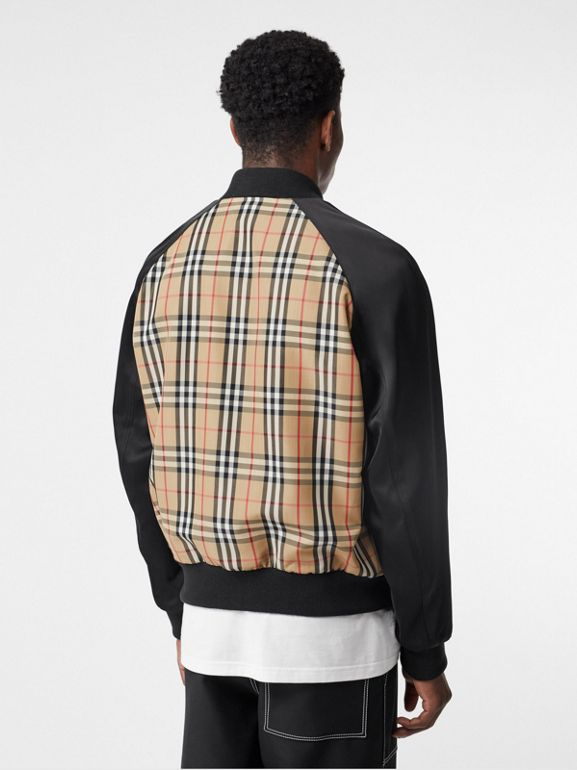 Monogram Motif Vintage Check Nylon Bomber Jacket in Archive Beige - Men | Burberry United States - cell image 1