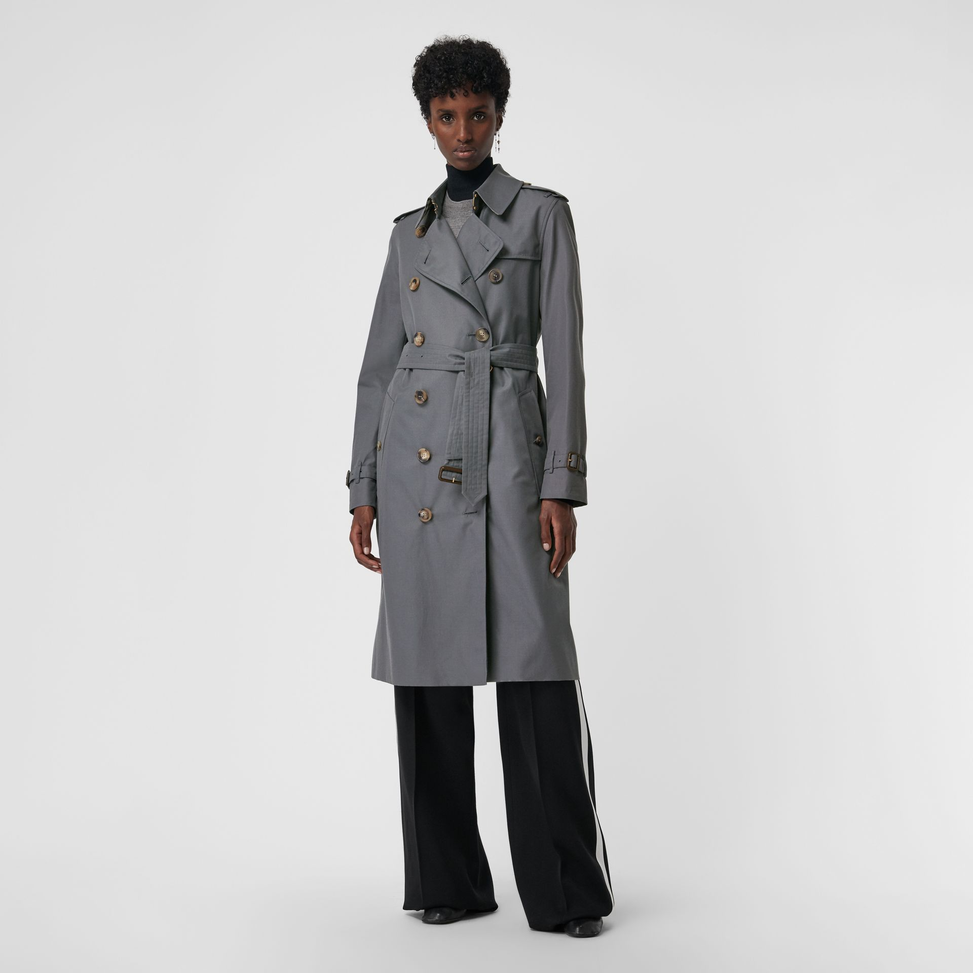 The Kensington – Trench Heritage long (Gris Moyen) - Femme | Burberry - photo de la galerie 0