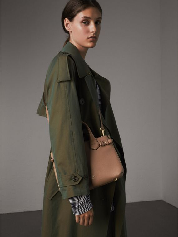 The Small Banner in Leather and House Check in Dark Sand - Women | Burberry Singapore - cell image 2