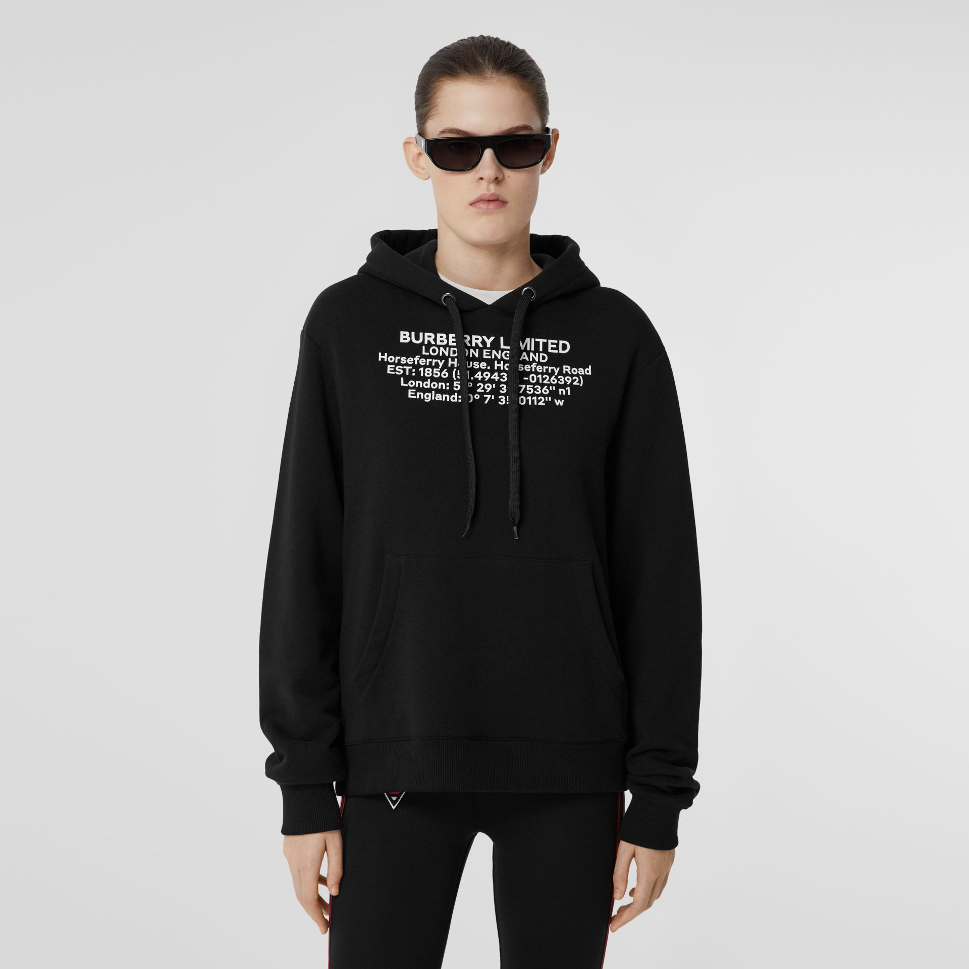 Location Print Cotton Oversized Hoodie in Black - Women | Burberry - gallery image 4