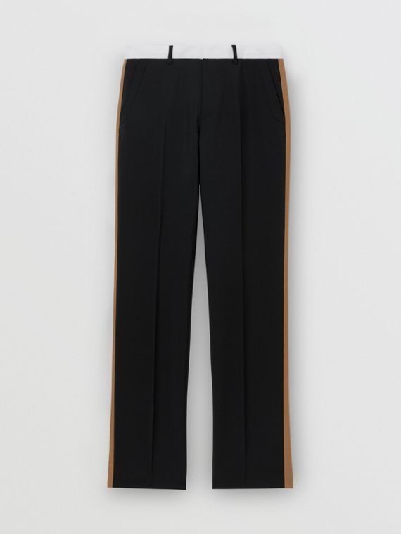 Tri-tone Mohair Wool Tailored Trousers in Black