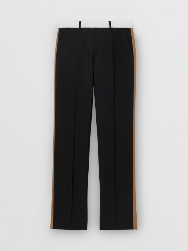 Tri-tone Mohair Wool Tailored Trousers in Black - Men | Burberry Australia - cell image 2