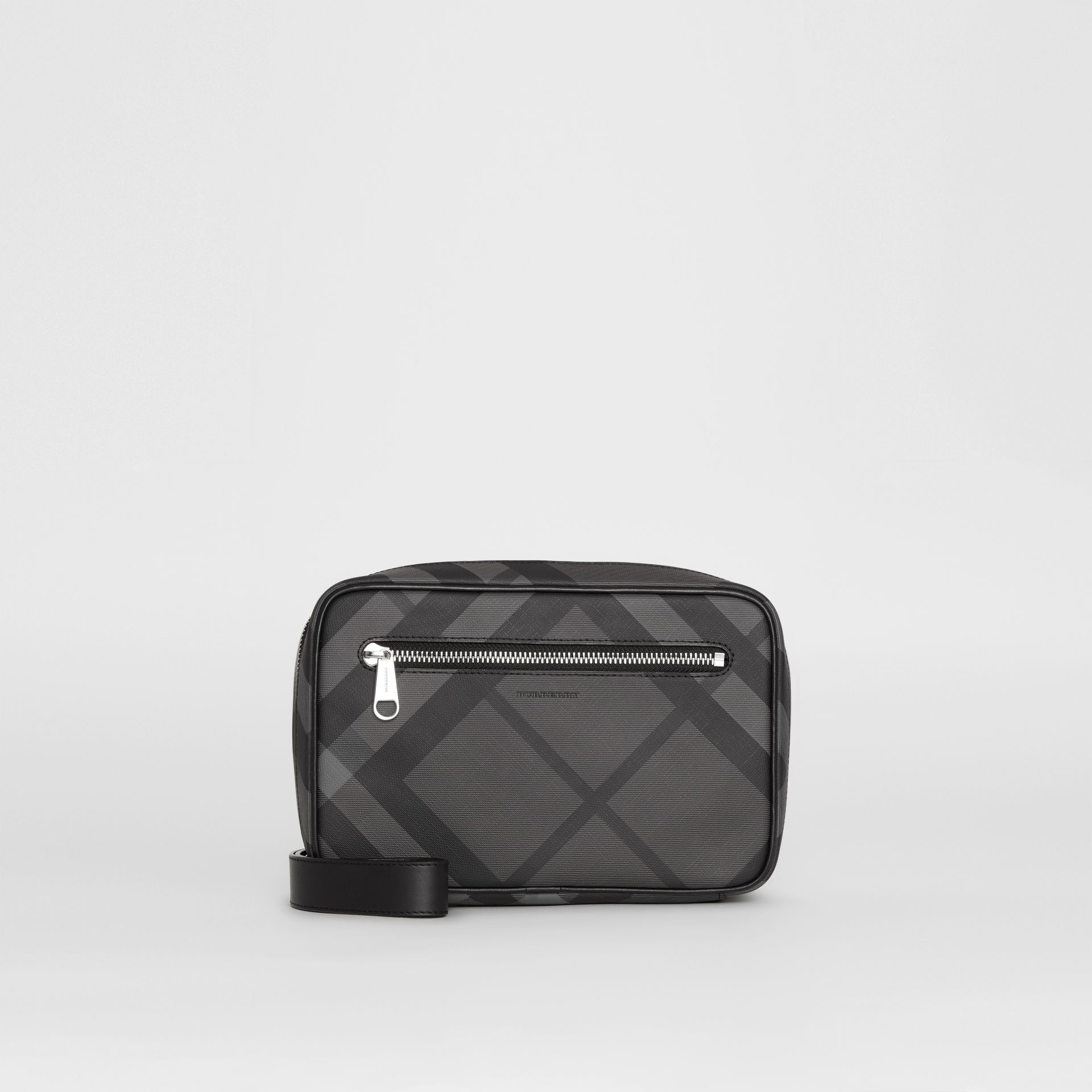 London Check Travel Pouch in Charcoal/black - Men | Burberry Hong Kong - gallery image 0