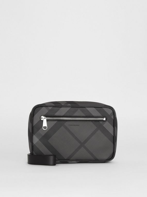 London Check Travel Pouch in Charcoal/black