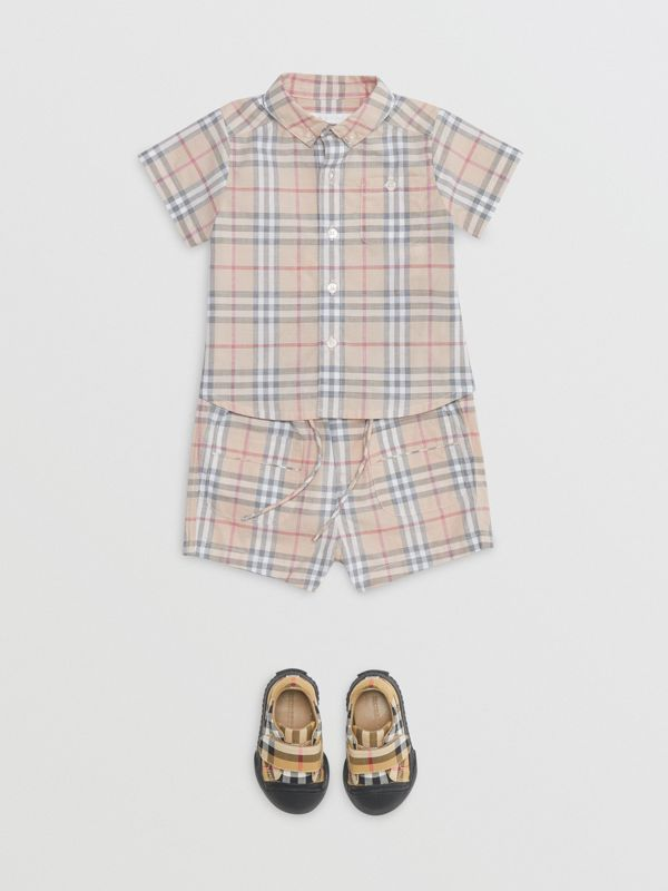 Button-down Collar Short-sleeve Check Cotton Shirt in Pale Stone - Children | Burberry - cell image 2