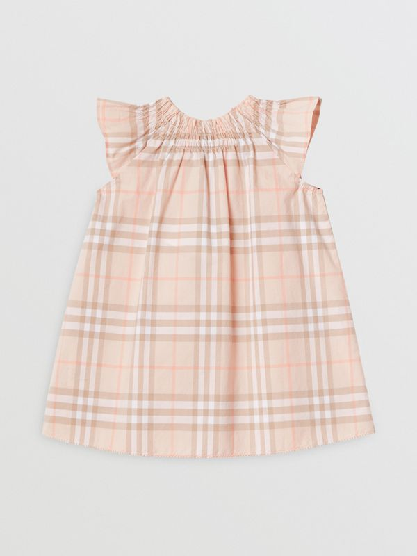 Smocked Vintage Check Cotton Dress in Pale Pink Apricot - Children | Burberry United Kingdom - cell image 3