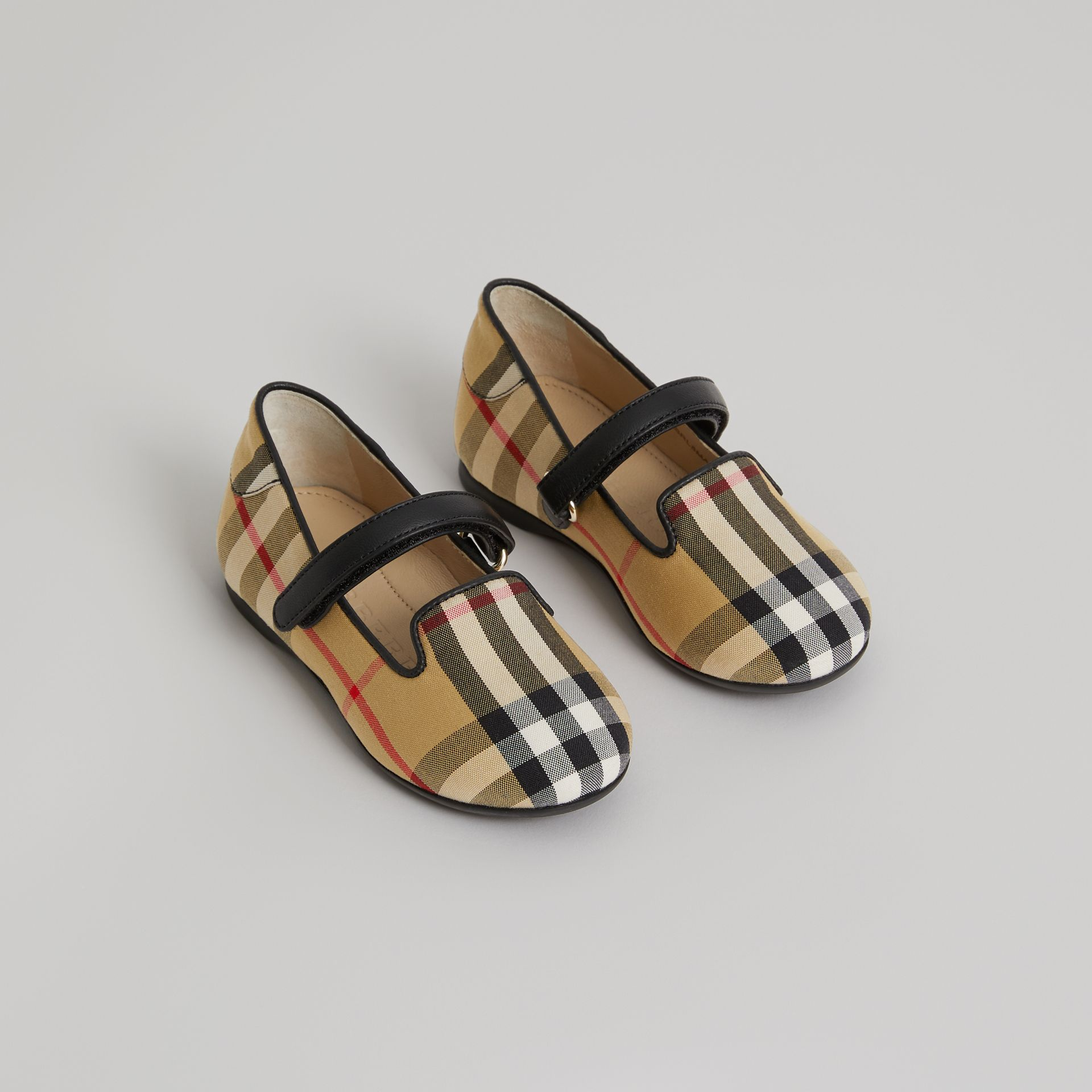 D-ring Strap Vintage Check Slippers in Antique Yellow | Burberry - gallery image 0