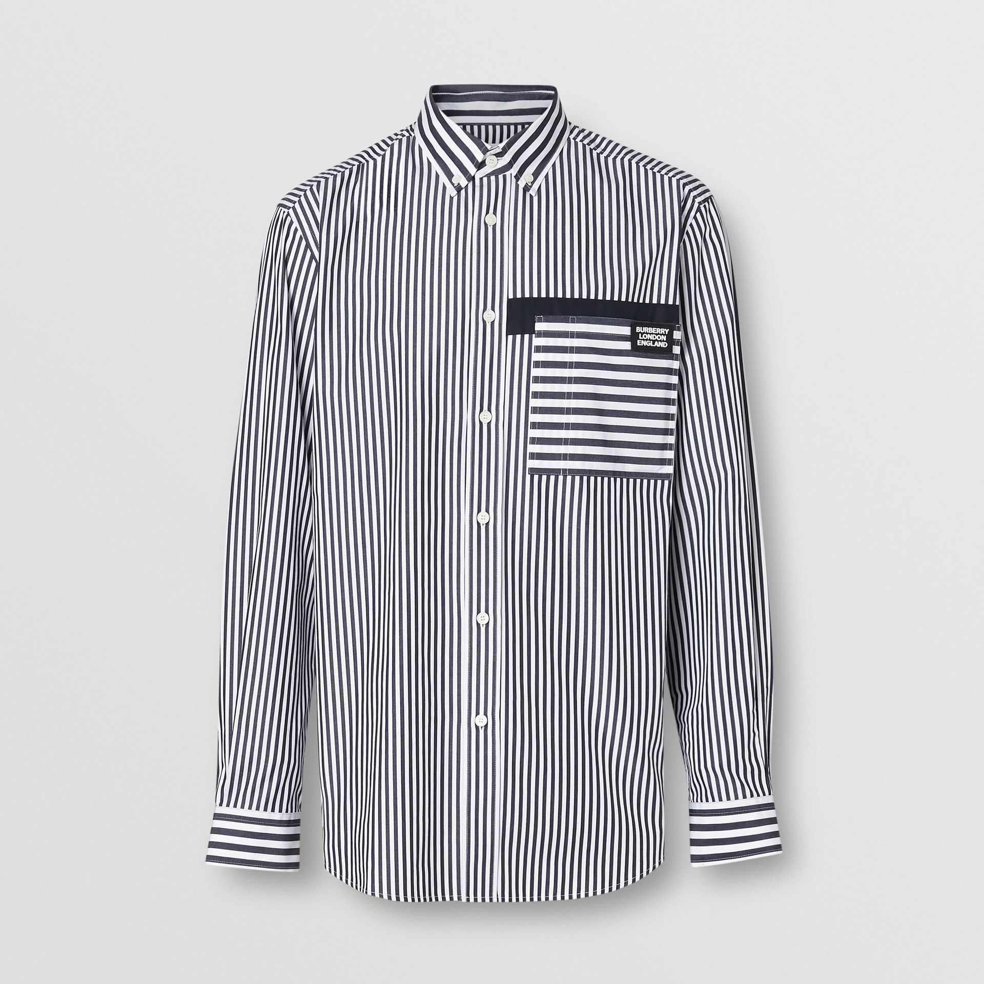 Logo Detail Contrast Stripe Cotton Shirt in Navy - Men | Burberry - gallery image 3