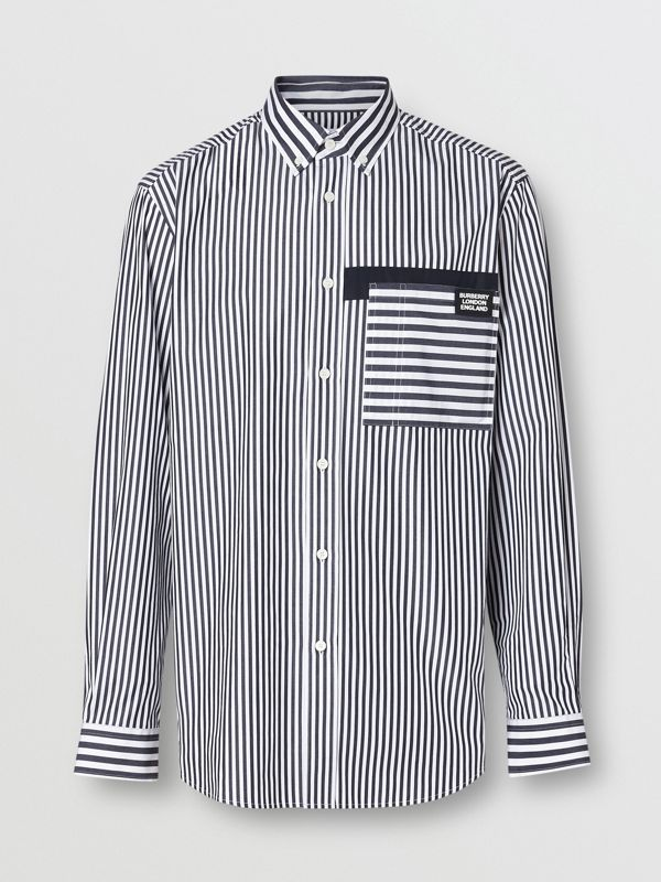 Logo Detail Contrast Stripe Cotton Shirt in Navy - Men | Burberry - cell image 3