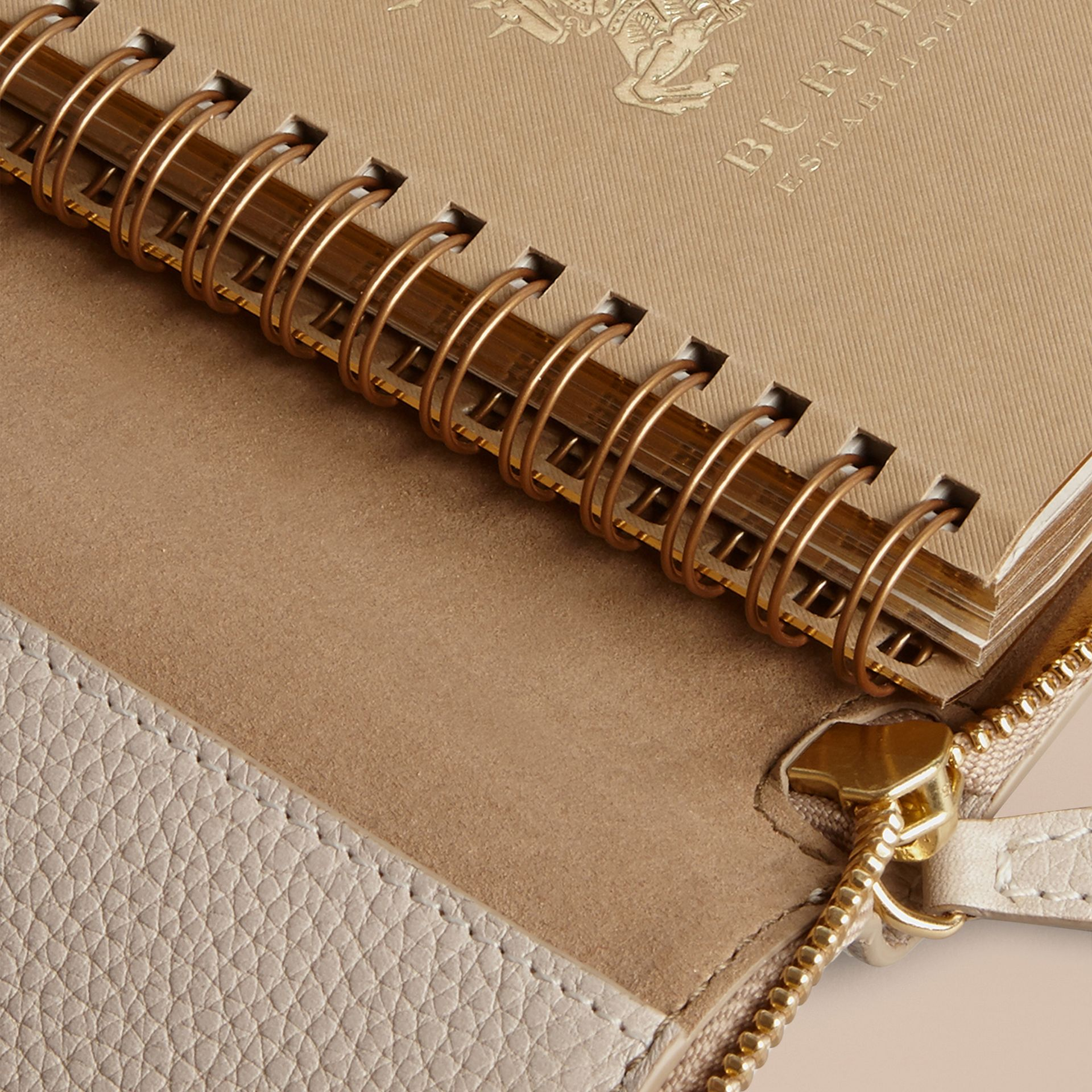 Ziparound Grainy Leather Mini Notebook in Stone | Burberry - gallery image 5