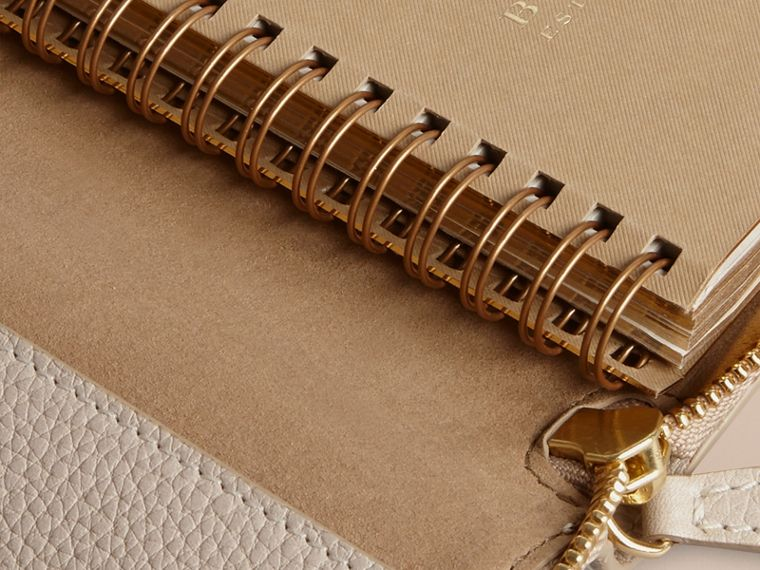 Ziparound Grainy Leather Mini Notebook in Stone | Burberry - cell image 4