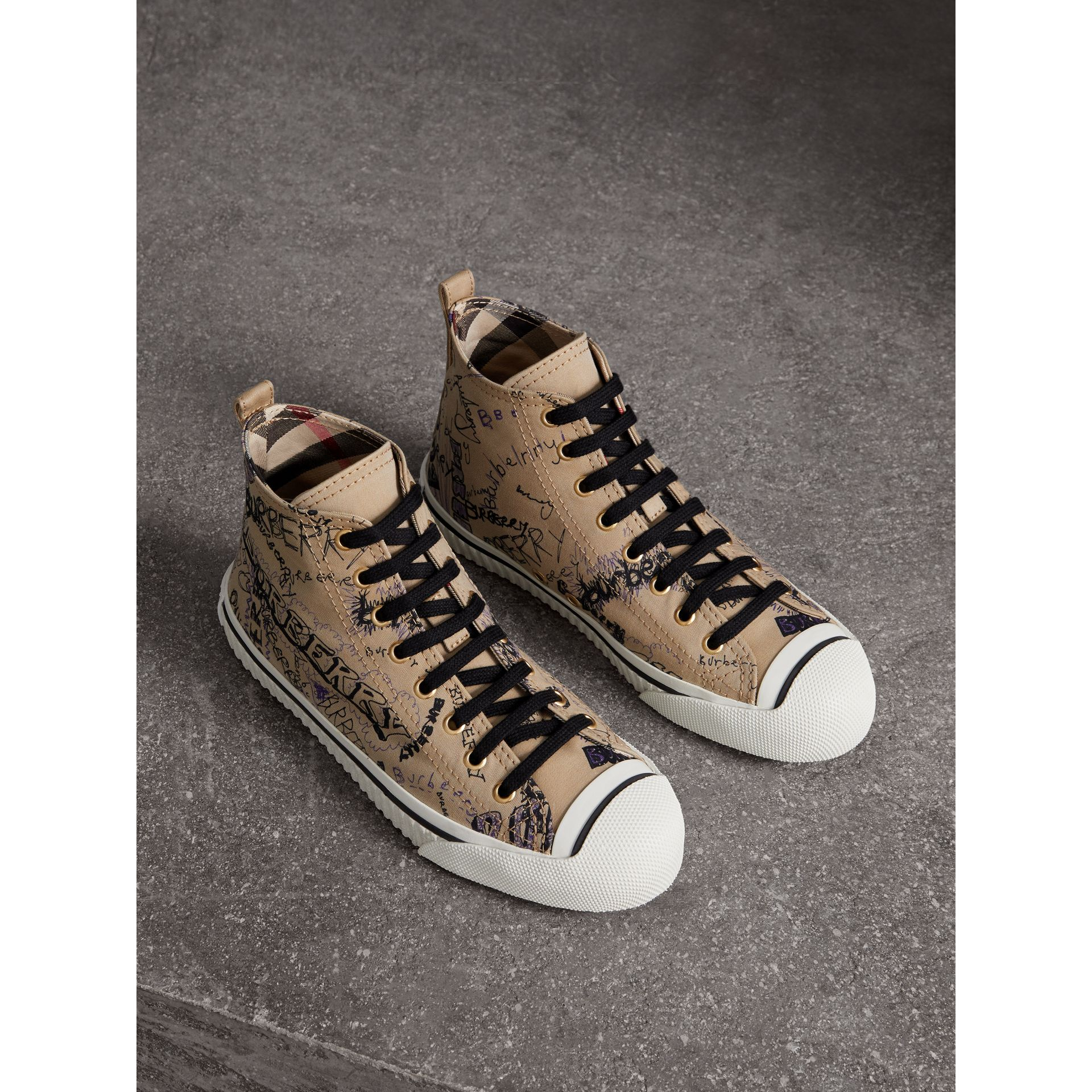 Doodle Print Cotton Gabardine High-top Trainers in Honey - Women | Burberry - gallery image 1
