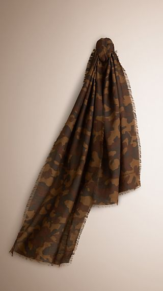 Camouflage Print Cotton Linen Scarf