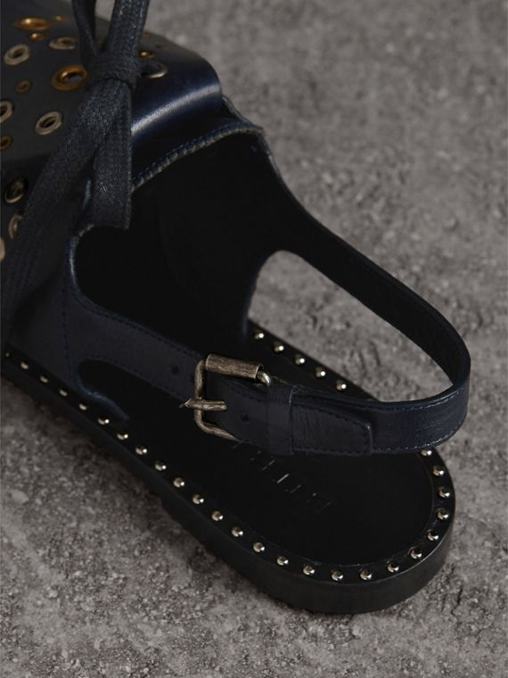 Kiltie Fringe Leather Sandals in Navy - Women | Burberry - cell image 2