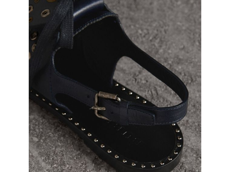 Kiltie Fringe Leather Sandals in Navy - Women | Burberry - cell image 4