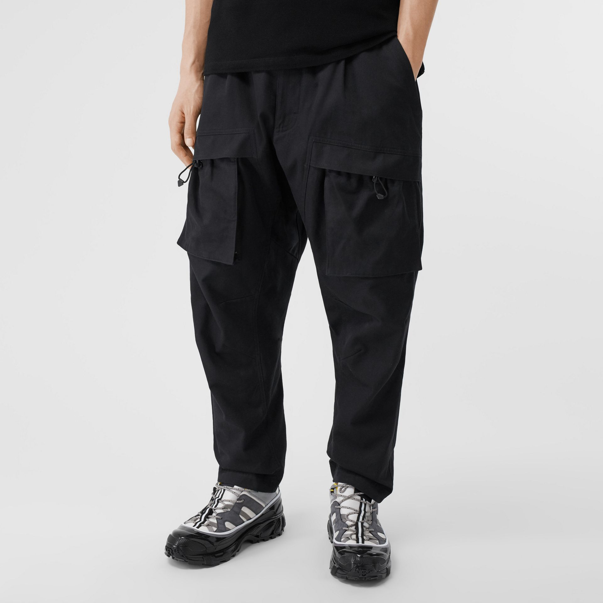Cotton Cargo Trousers in Black - Men | Burberry - gallery image 4