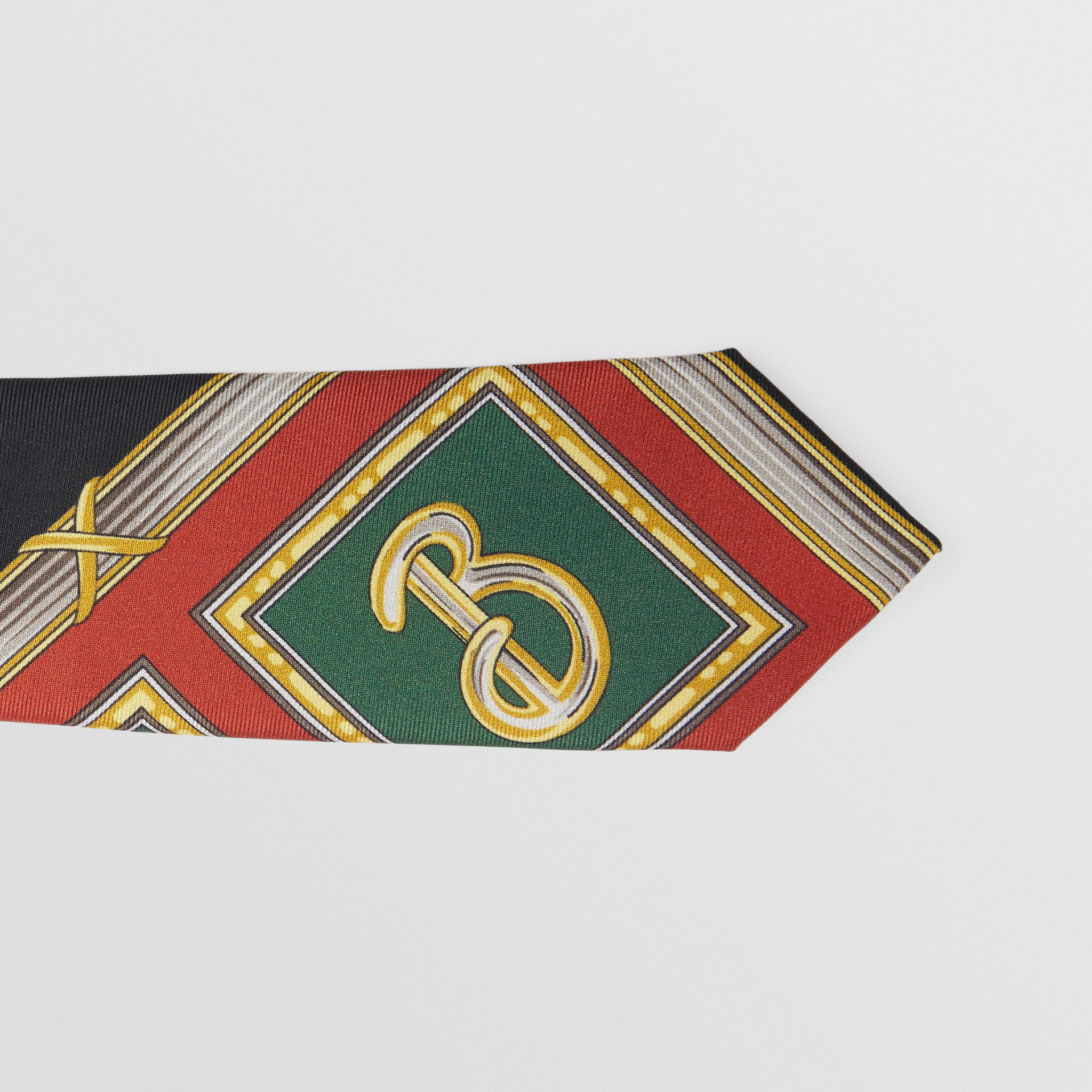 Slim Cut Archive Scarf Print Silk Tie in Dark Green - Men | Burberry Australia - gallery image 1