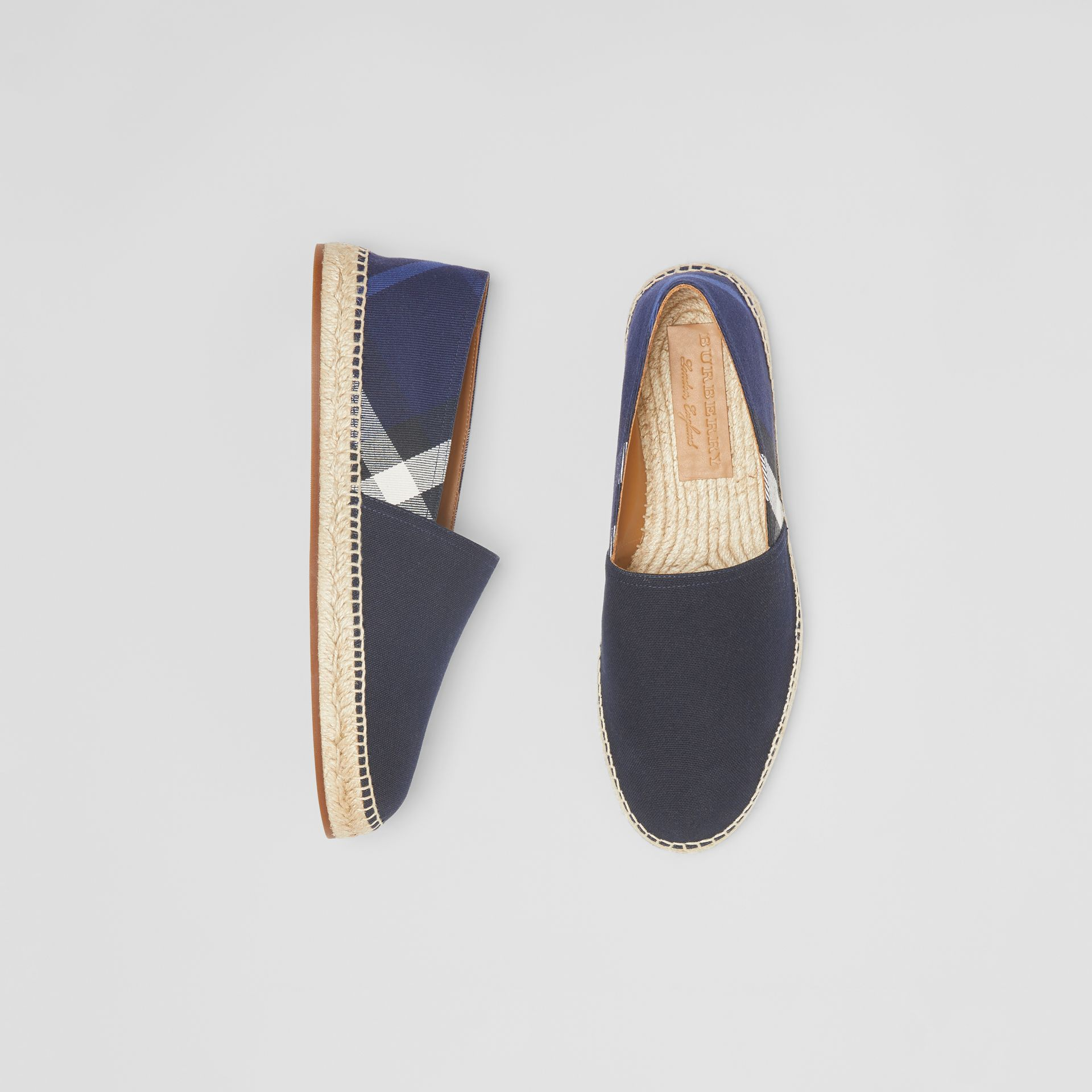 Overdyed House Check and Cotton Canvas Espadrilles in Indigo Blue - Men | Burberry - gallery image 0
