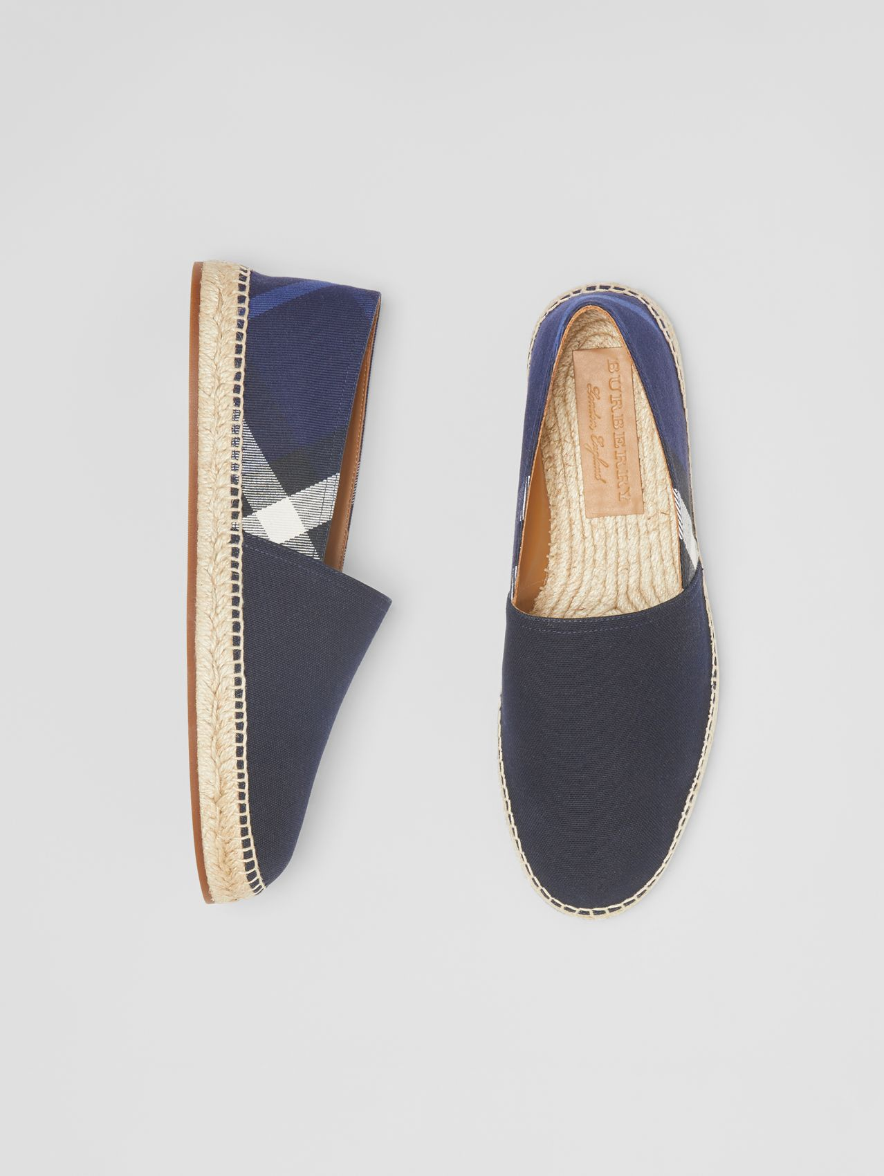 Overdyed House Check and Cotton Canvas Espadrilles in Indigo Blue