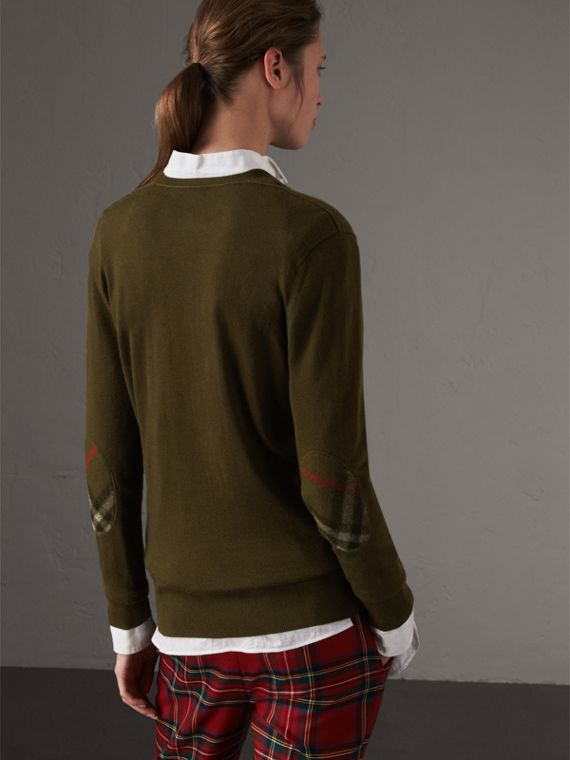 Check Detail Cashmere V-neck Sweater in Khaki Green - Women | Burberry United Kingdom - cell image 2