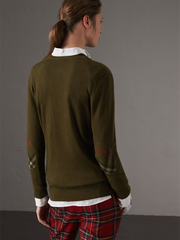 Check Detail Cashmere V-neck Sweater in Khaki Green - Women | Burberry - cell image 2