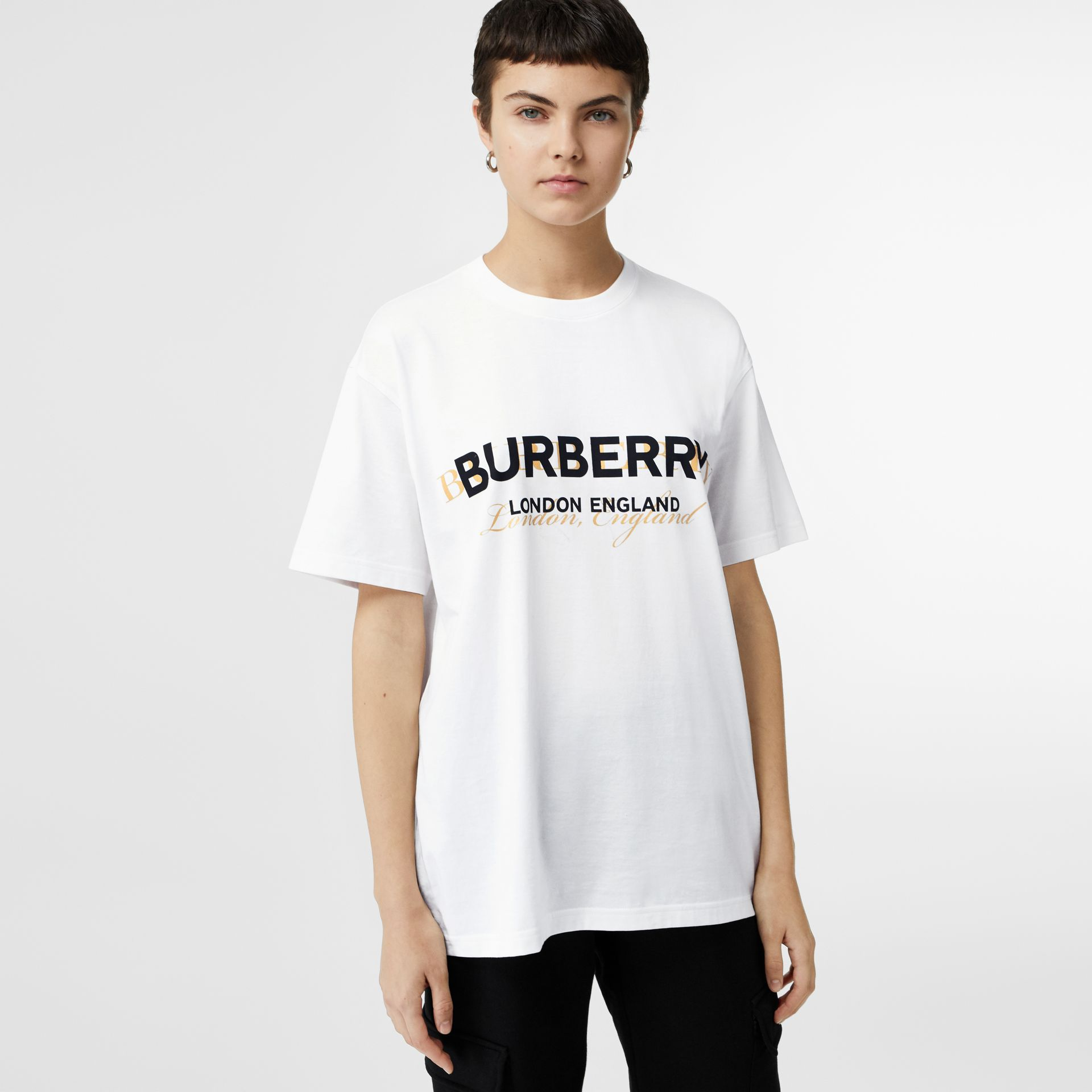 Double Logo Print Cotton Oversized T-shirt in White - Women | Burberry - gallery image 0