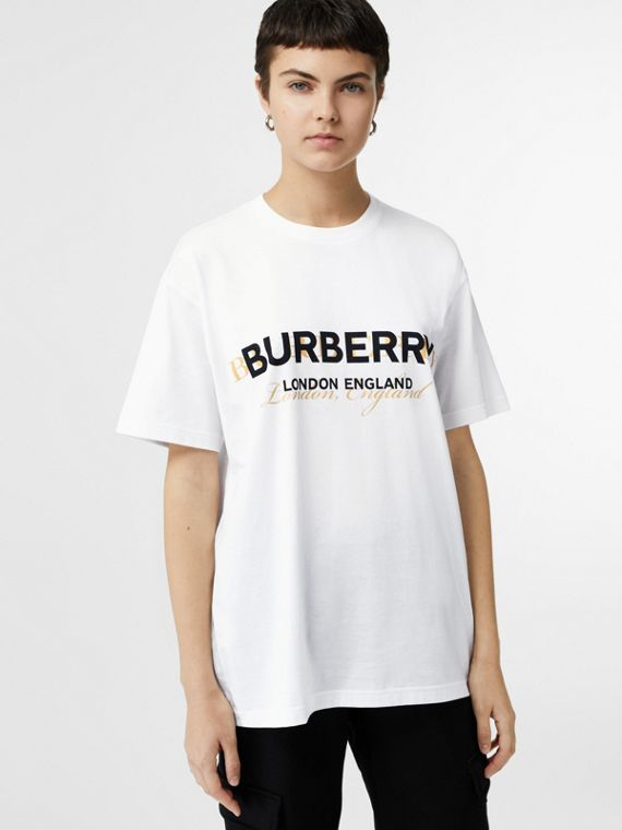 Double Logo Print Cotton Oversized T-shirt in White